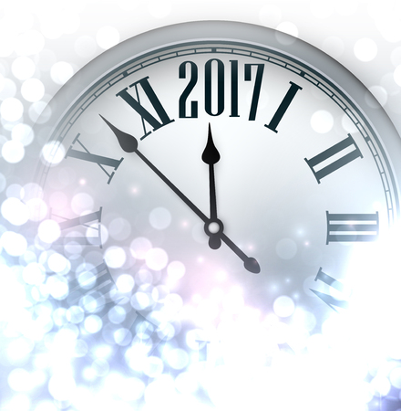 time of the year: 2017 New Year luminous background with clock. Vector illustration.