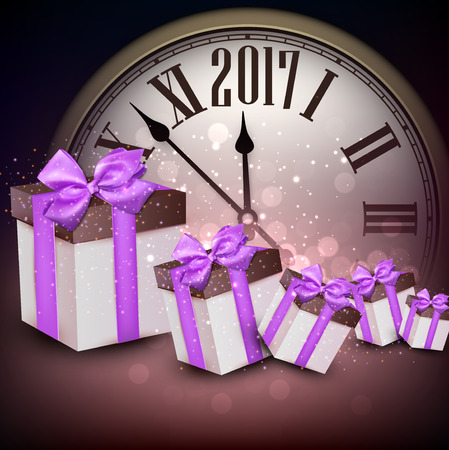 hristmas: 2017 New Year purple background with clock and gifts. Vector illustration.
