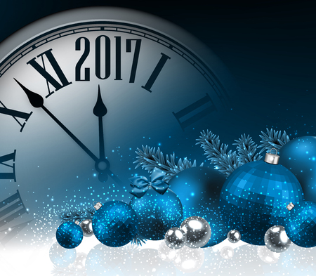 2017 New Year blue background with clock and balls. Vector illustration.