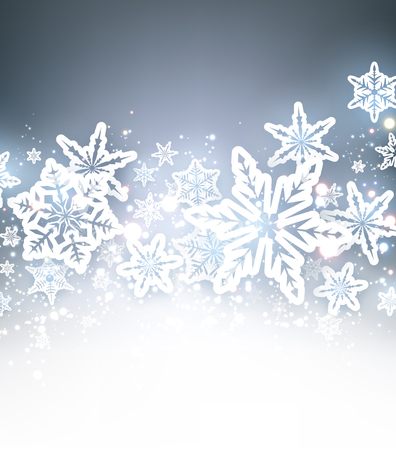 wintery: Winter blue background with white beautiful snowflakes. Vector illustration.