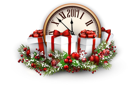 happy new years: 2017 New Year background with clock and gifts. Vector illustration.