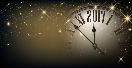 chiming: 2017 New Year gray sparkling banner with clock. Vector illustration. Illustration