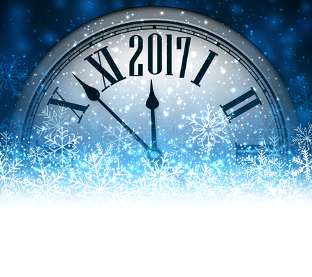 happy new years: 2017 New Year blue background with clock and snow. Vector illustration.