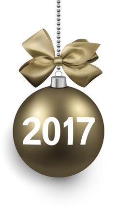golden ball: 2017 New Year card with 3d golden ball. Vector illustration. Illustration