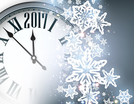 hristmas: 2017 New Year blue background with clock and snowflakes. Vector illustration.