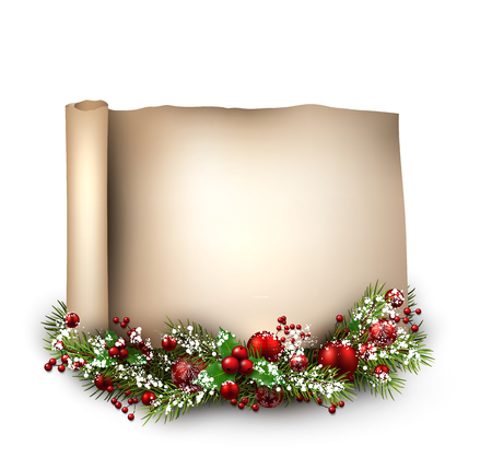 christmas scroll: Merry Christmas scroll background with fir branch. Vector paper illustration. Illustration