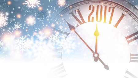2017 new year banner with clock and snowflakes vector illustration stock vector 63754605