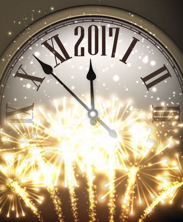 cover background time: 2017 New Year background with clock and fireworks. Vector illustration.