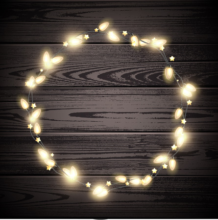 vector wooden background with round christmas garland of lights vector illustration