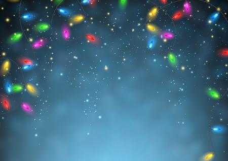 christmas garland: Color Christmas garland of lights on blue background. Vector illustration. Illustration