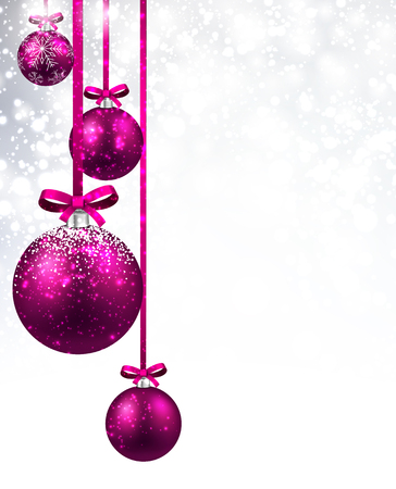 pink christmas: New Year shining background with pink Christmas balls. Vector illustration.