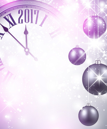 2017 New Year luminous background with clock and balls. Vector illustration.