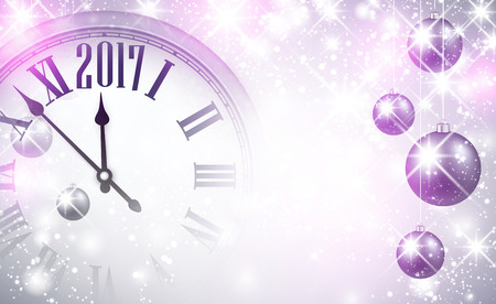 2017 New Year magic background with clock and balls. Vector illustration. Illustration