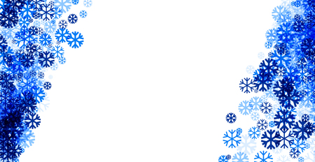 wintery: White winter background with blue snowflakes. Vector illustration. Illustration
