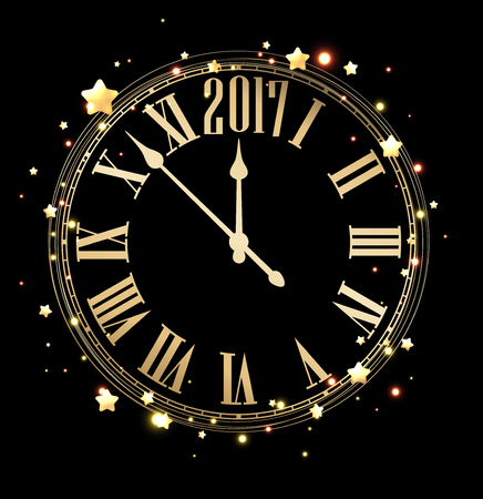 2017 new year black background with golden clock. Vector illustration.