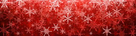 streamer: Red winter banner with snowflakes. Vector illustration.