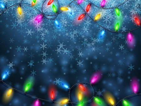christmas garland: Blue background with ?olor Christmas garland lights and snowflakes. Vector illustration. Illustration