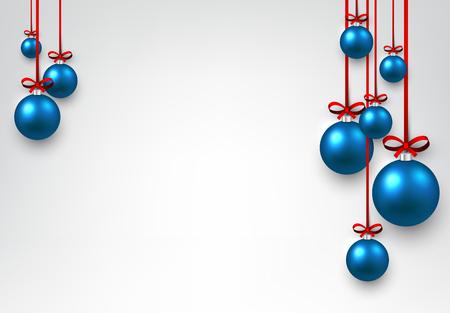 pelota: fondo blanco Año Nuevo con bolas azules de Navidad. Ilustración del vector.