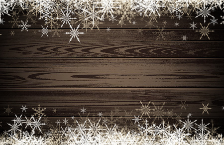 white winter: Wooden winter background with white snowflakes. Vector illustration. Illustration