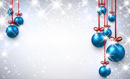 New Year shining background with blue Christmas balls. Vector illustration. Illustration
