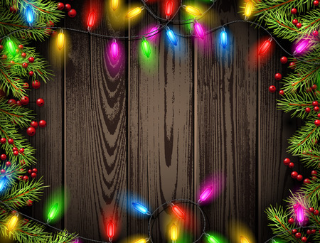 christmas garland: Wooden background with Christmas garland and fir branches. Vector illustration.