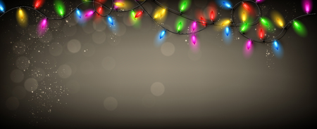 christmas banner: Gray banner with color Christmas garland of lights. Vector illustration.
