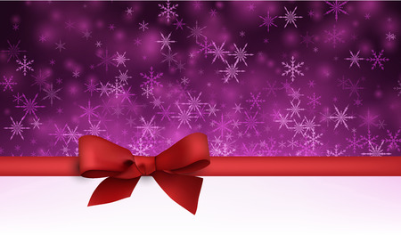 wintery: Violet winter background with snowflakes and red bow. Vector illustration. Illustration
