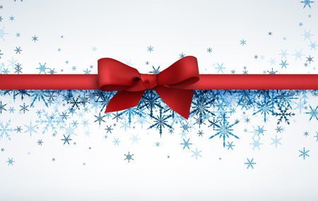 wintery: White winter background with snowflakes and red bow. Vector illustration.