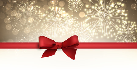 firework: Golden winter banner with fireworks and red bow. Vector illustration. Illustration