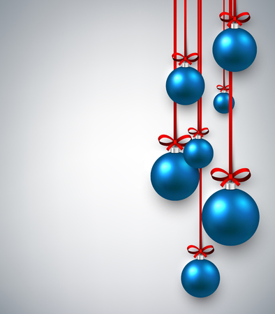 New Year white background with blue Christmas balls. Vector illustration. Vetores