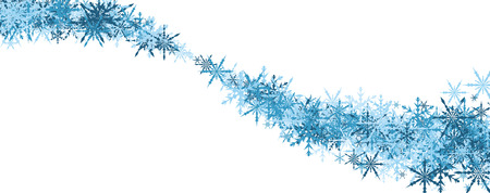 white winter: White winter banner with whirl of blue snowflakes. Vector illustration.