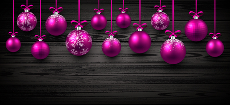 pink christmas: New Year wooden banner with pink Christmas balls. Vector illustration. Illustration