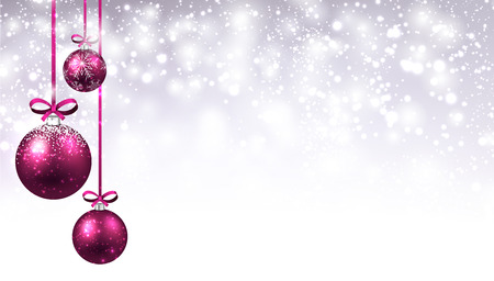 New Year shining background with pink Christmas balls. Vector illustration.