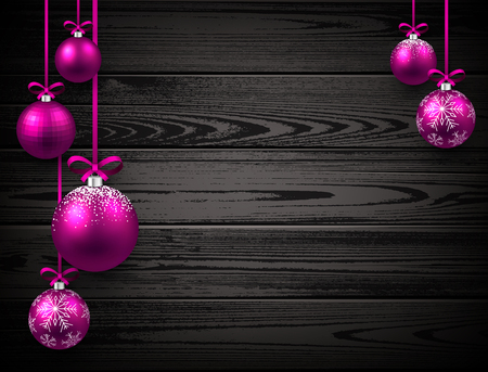 pink christmas: New Year wooden background with pink Christmas balls. Vector illustration.