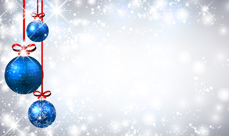 flickering: New Year shining background with blue Christmas balls. Vector illustration. Illustration