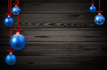 christmas balls: New Year wooden background with blue Christmas balls. Vector illustration.