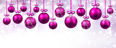 pink christmas: New Year banner with pink Christmas balls. Vector illustration. Illustration