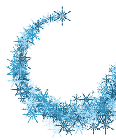 wintery: White winter background with whirl of blue snowflakes. Vector illustration. Illustration