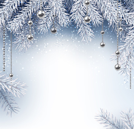 christmas balls: Silver background with Christmas balls and fir branches. Vector illustration.