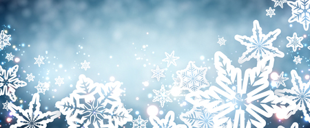 wintery: Blue winter banner with snowflakes. Vector illustration. Illustration