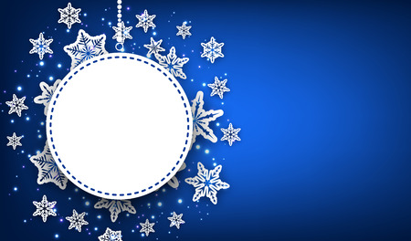 original circular abstract: Blue winter round background with snowflakes. Vector illustration.