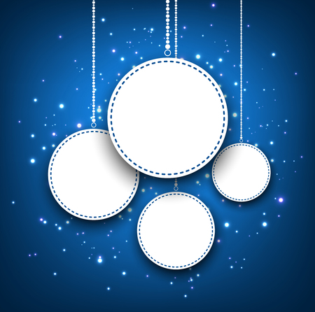 original circular abstract: Blue winter round background with Christmas balls. Vector illustration.