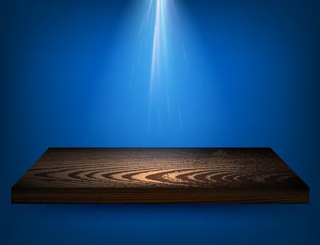backlit: Blue background with wooden shelf and backlight. Vector illustration.