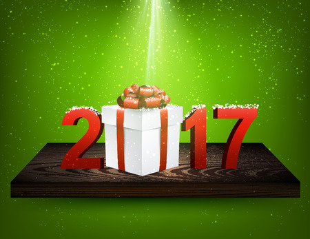 wooden shelf: Green 2017 background with gift box on wooden shelf. Vector illustration.