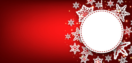 christmas red: Red winter round banner with snowflakes. Vector illustration. Illustration