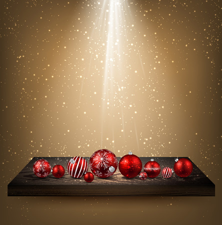 wooden shelf: Beige background with Christmas balls on wooden shelf. Vector illustration.