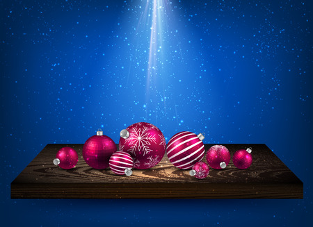 wooden shelf: Blue background with Christmas balls on wooden shelf. Vector illustration.