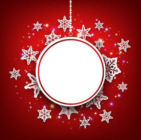 original circular abstract: Red winter round background with snowflakes. Vector illustration.