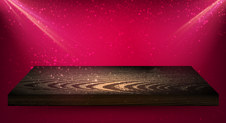 Pink background with wooden shelf and backlight. Vector illustration.