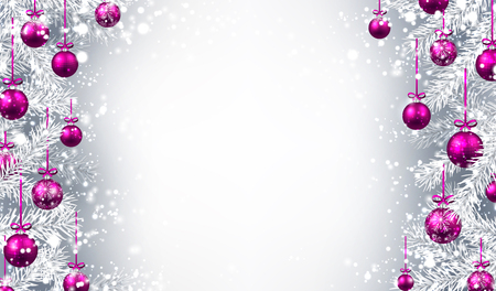 pink christmas: New Year background with Christmas balls and fir branches. Vector illustration. Illustration